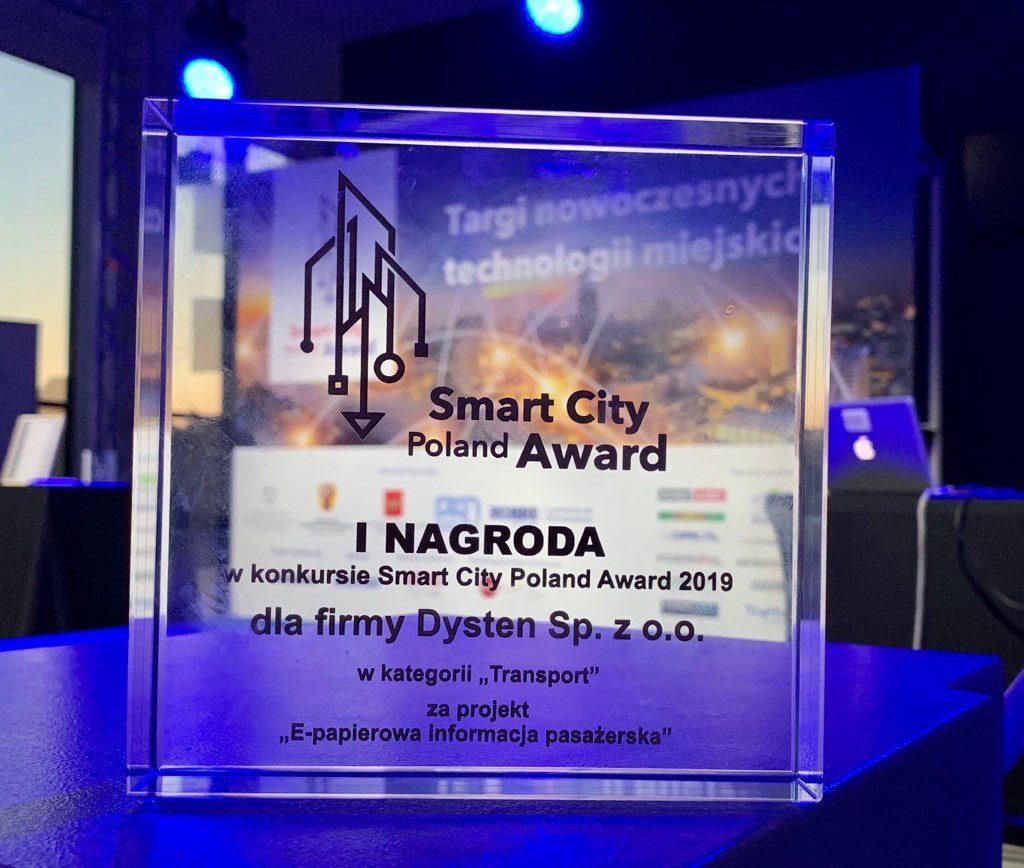 """Smart City Poland Award za projekt """"E-papierowa informacja pasażerska"""""""