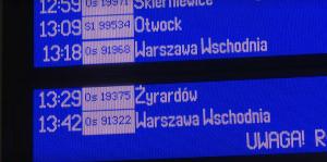 tablica informacji pasażerskiej pkp dworzec Pruszków